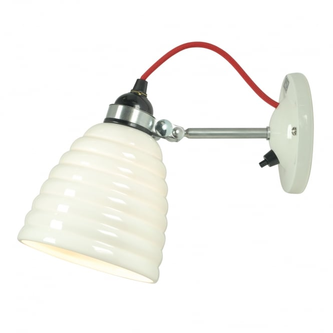 HECTOR BIBENDUM ripple effect bone china wall light with red cable (switched)