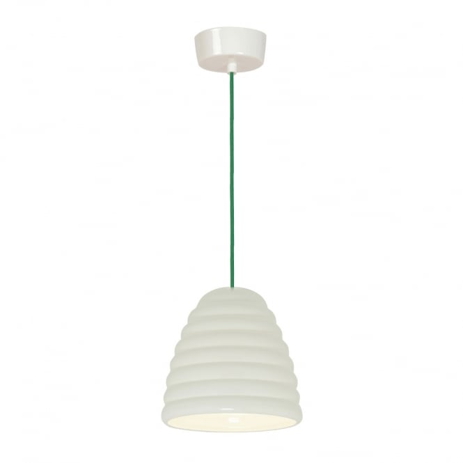 HECTOR BIBENDUM white bone china pendant with green flex