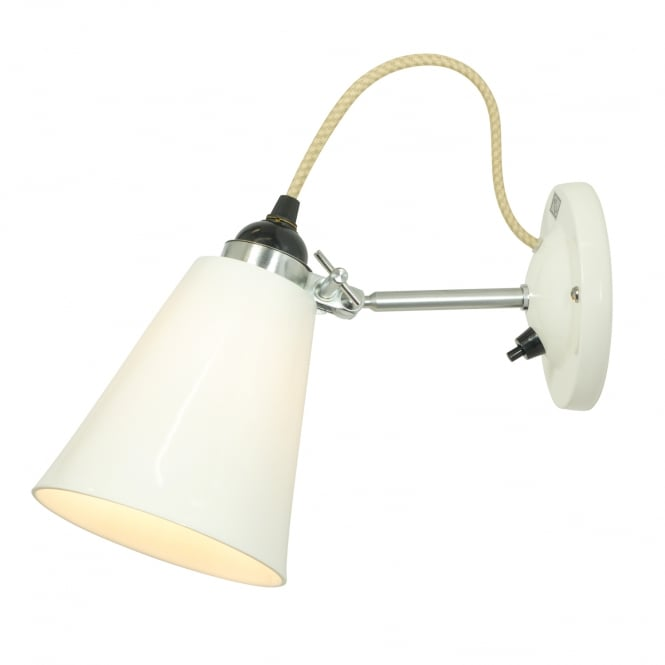 HECTOR flowerpot wall light in natural bone china with switch (medium)