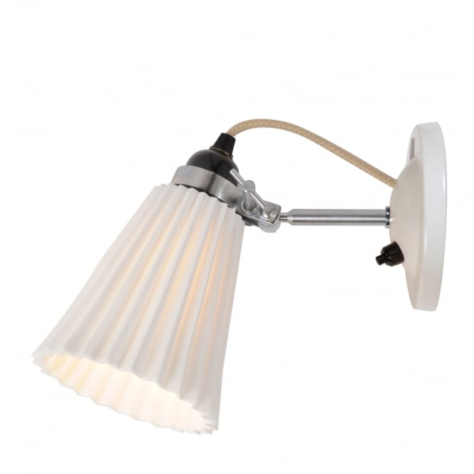 Original BTC HECTOR switched single wall light with pleat effect bone china shade