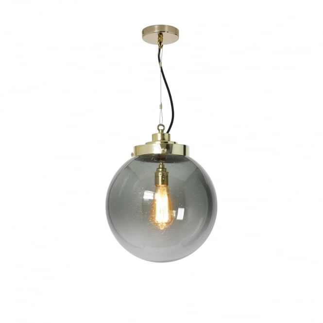 MEDIUM seedy anthracite glass globe pendant with brass suspension