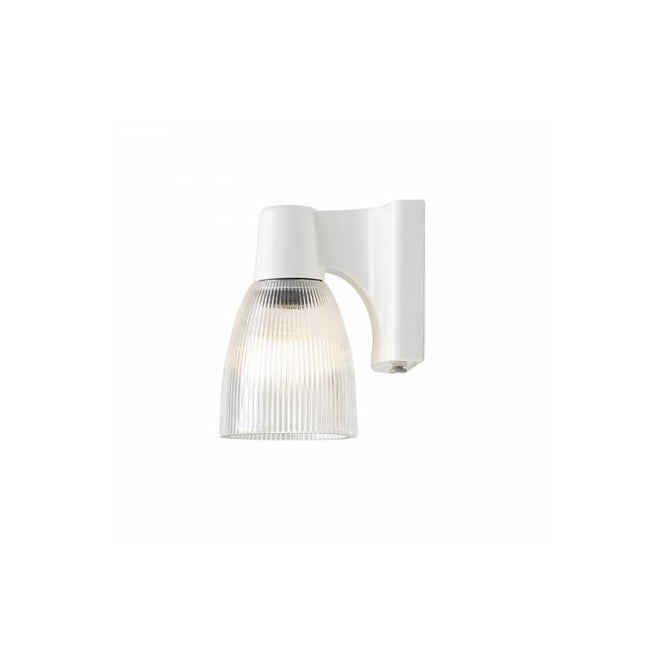 Original BTC MINSTER single white ceramic wall light with prismatic glass shade