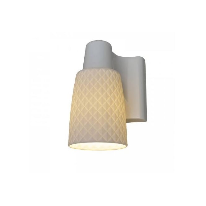 Original BTC OXFORD white bone china single wall light with textural finish