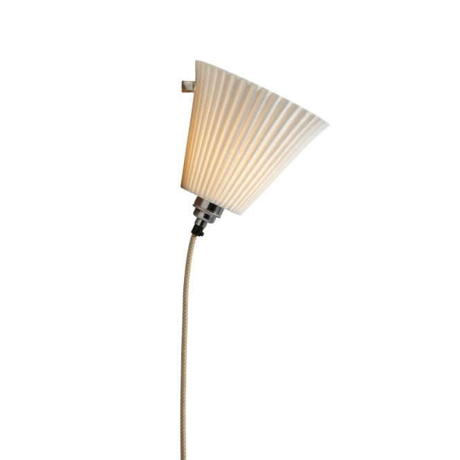 PORTABLE pleat bone china wall light with braided flex (large)
