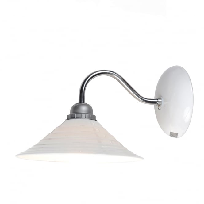 SKIO single wall light with natural white bone china shade