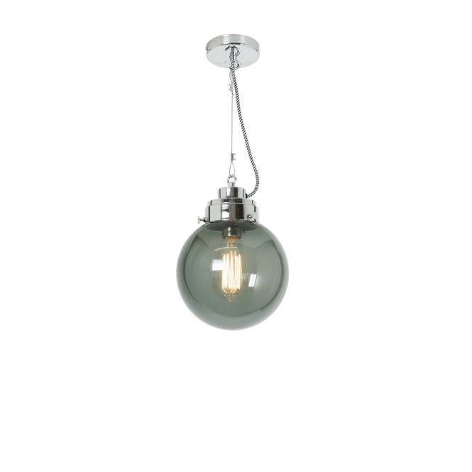 SMALL anthracite glass globe pendant with chrome suspension