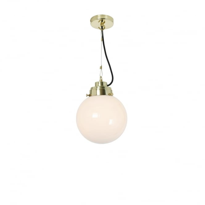 Original BTC SMALL opal glass globe ceiling pendant with brass suspension