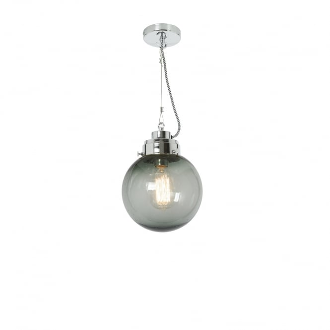 SMALL seeded anthracite glass globe pendant with chrome suspension