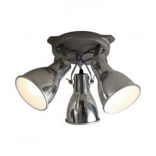 industrial aluminium finished 3 light ceiling spotlight cluster