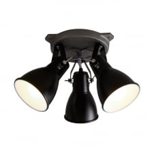 industrial black 3 light ceiling spotlight cluster
