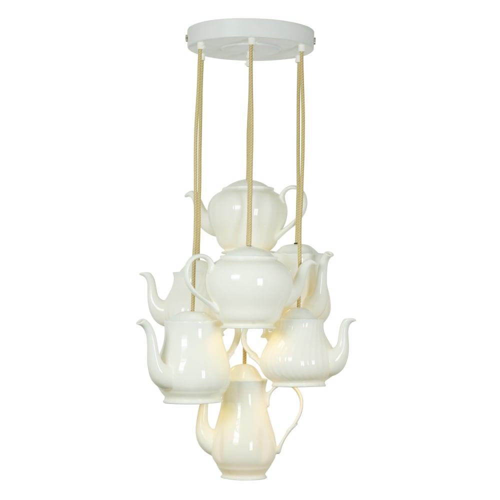7 Light Natural White Bone China Teapot Ceiling Pendant