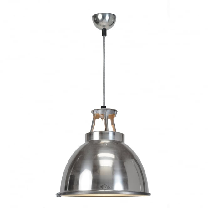 TITAN Size 1 Pendant Light, Natural Aluminium with Etched Glass