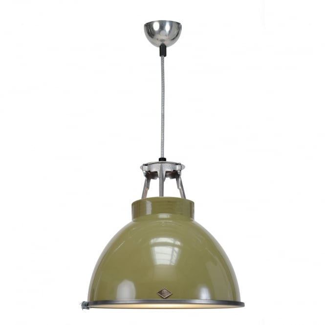 TITAN Size 1 Pendant Light, Olive Green with Etched Glass