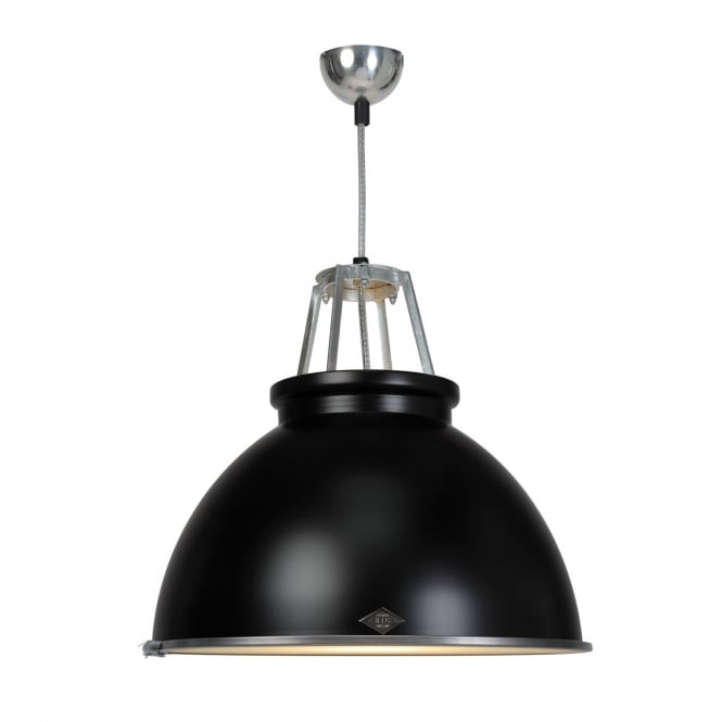 TITAN Size 3 Pendant Light, Black with Etched Glass