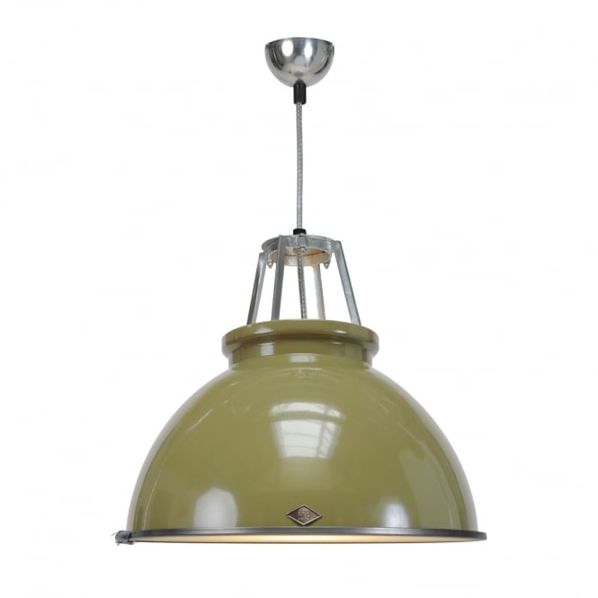 Original BTC TITAN Size 3 Pendant Light, Olive Green with Etched Glass