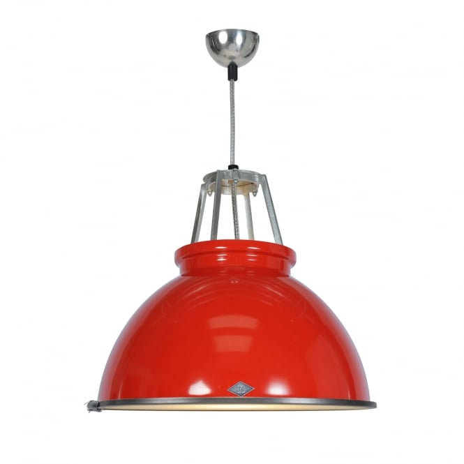 TITAN Size 3 Pendant Light, Red with Etched Glass