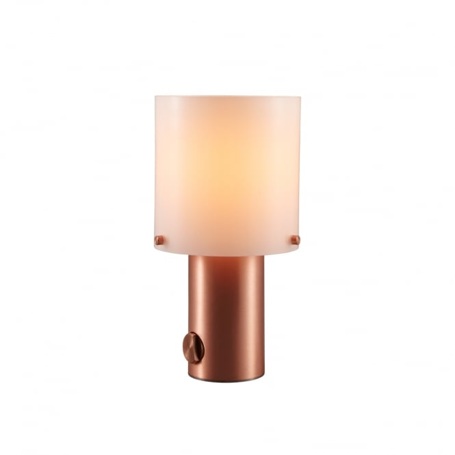 WALTER satin copper table lamp with opal glass shade