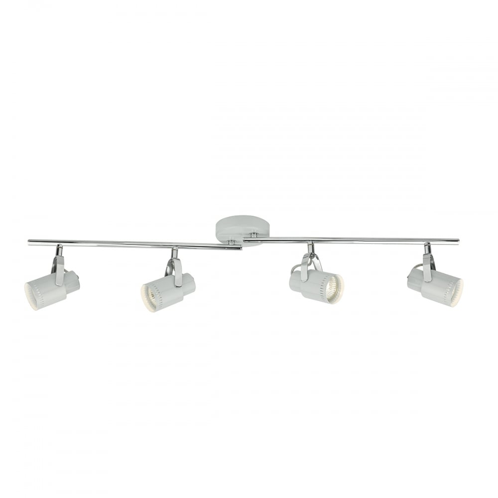 Cool grey and polished chrome 4 light ceiling spotlight bar 4 light chrome and cool grey spotlight bar arubaitofo Images