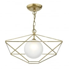 geometric antique gold pendant with opal glass globe