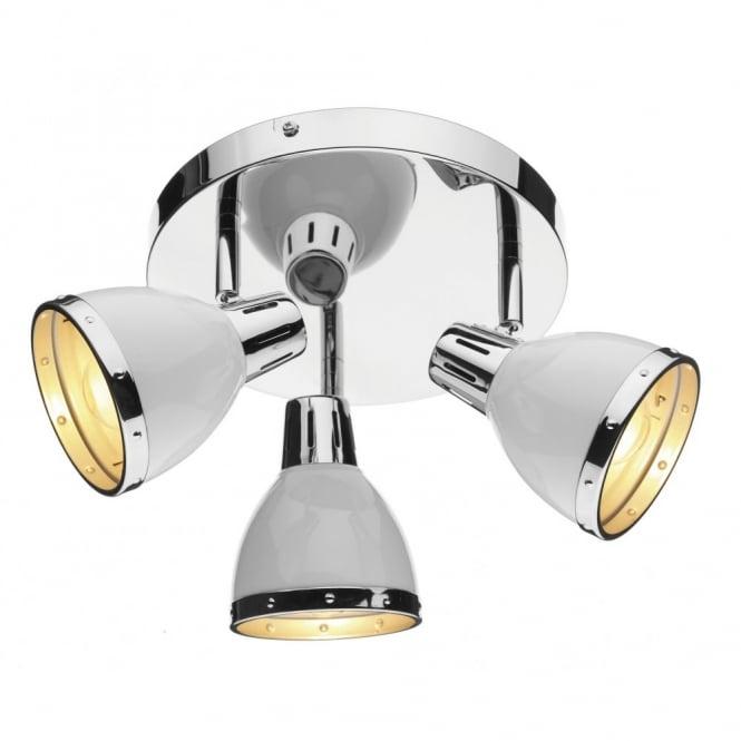 Polar chrome white circular ceiling spotlights osaka chrome white 3 light spotlight cluster mozeypictures Image collections