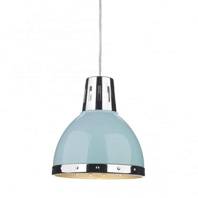 Retro Style Ceiling Pendant Light, Pale Blue with Chrome Detailing