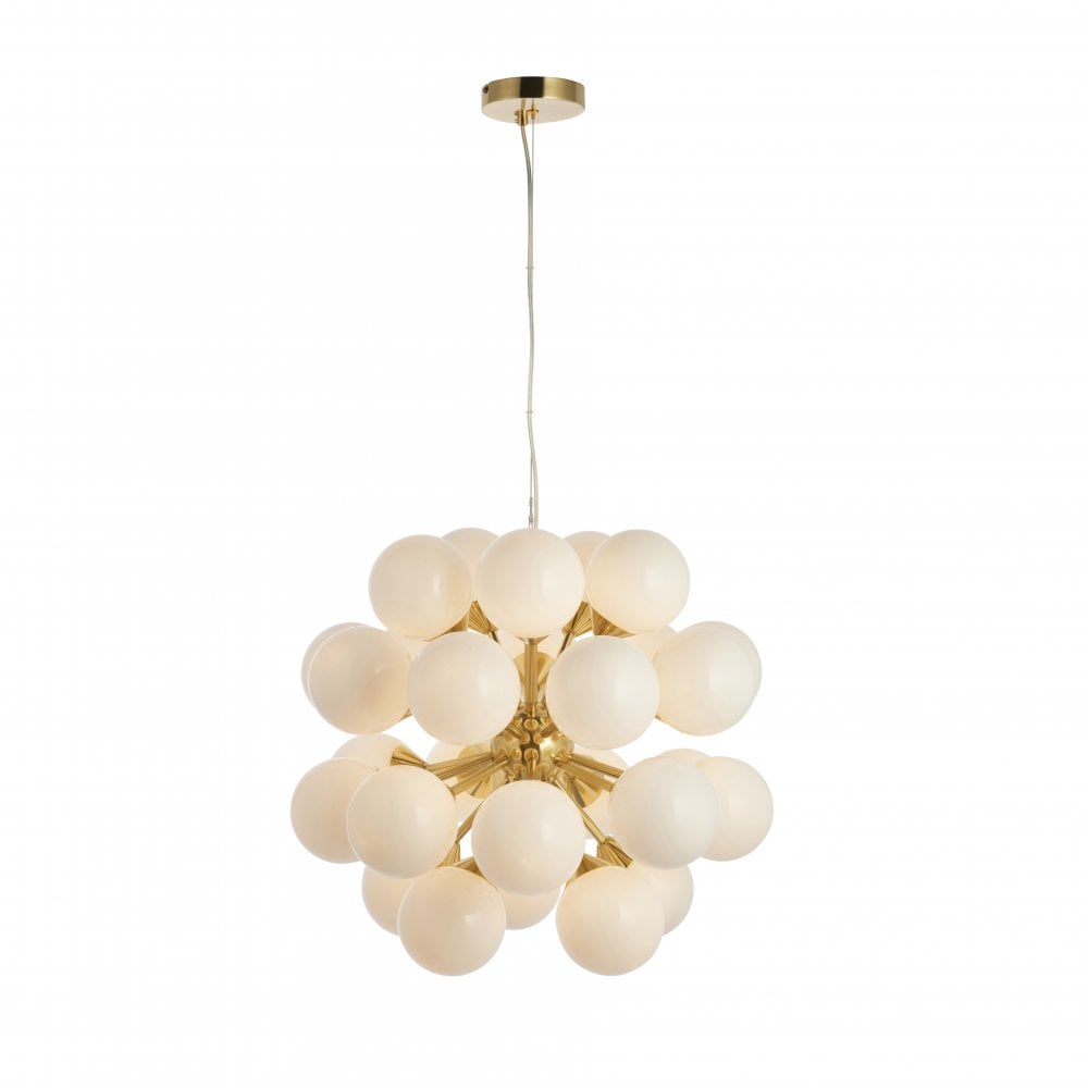 Oscar 28 globe pendant cluster light a large satin brushed gold effect fitting with white glass
