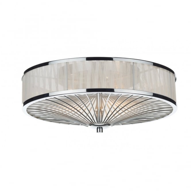 Contemporary flush chrome silk pleated ceiling light oslo polished chrome ivory silk pleated border mozeypictures Gallery