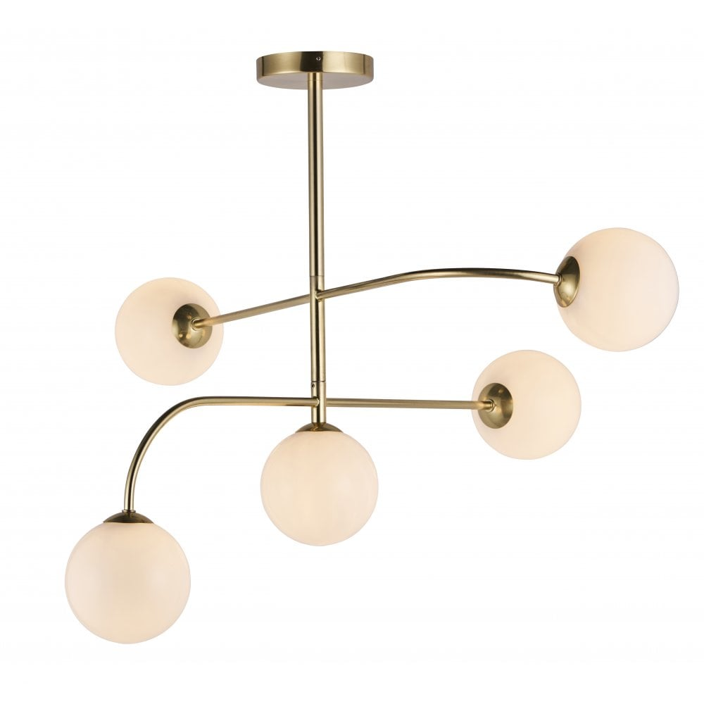 Brushed Brass 5 Light Ceiling Light With Opal Globes Lighting Company