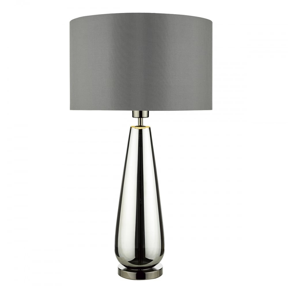 Contemporary black chrome glass table lamp with shade black chrome glass table lamp with smokey grey shade aloadofball Image collections