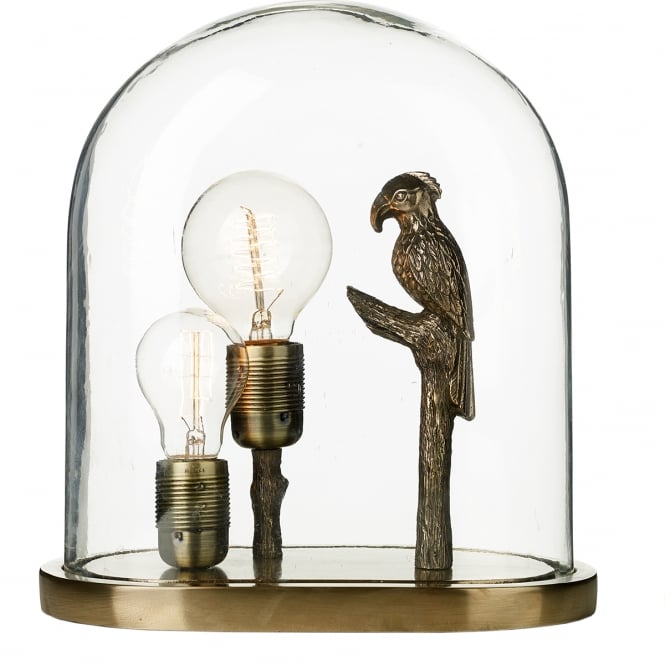 PARROT decorative bronze table lamp with clear glass dome