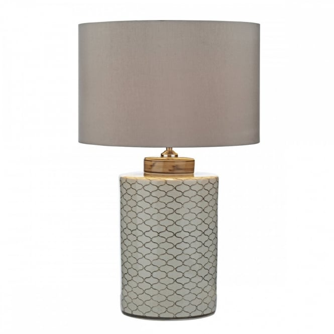 PAXTON ceramic table lamp geometric repeat pattern complete with faux silk shade.