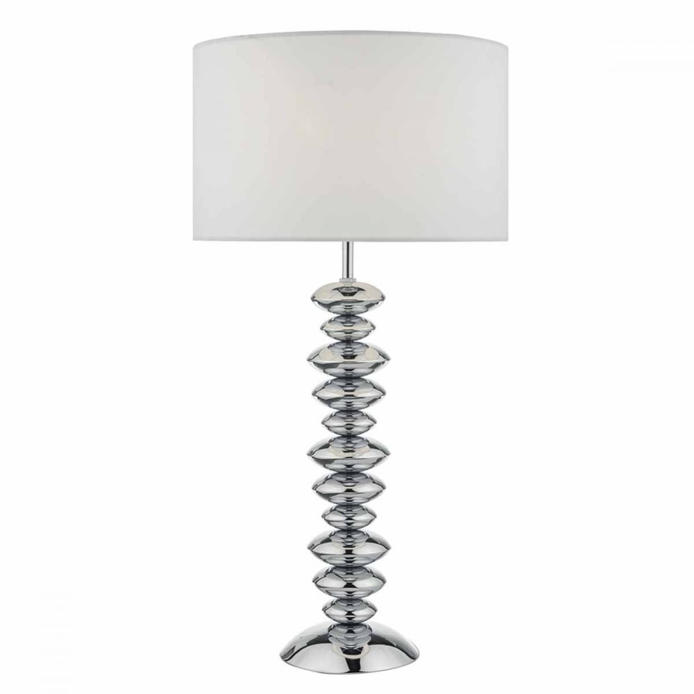 Payton modern polished chrome table lamp with cotton shade payton modern polished chrome table lamp with cotton shade aloadofball Image collections
