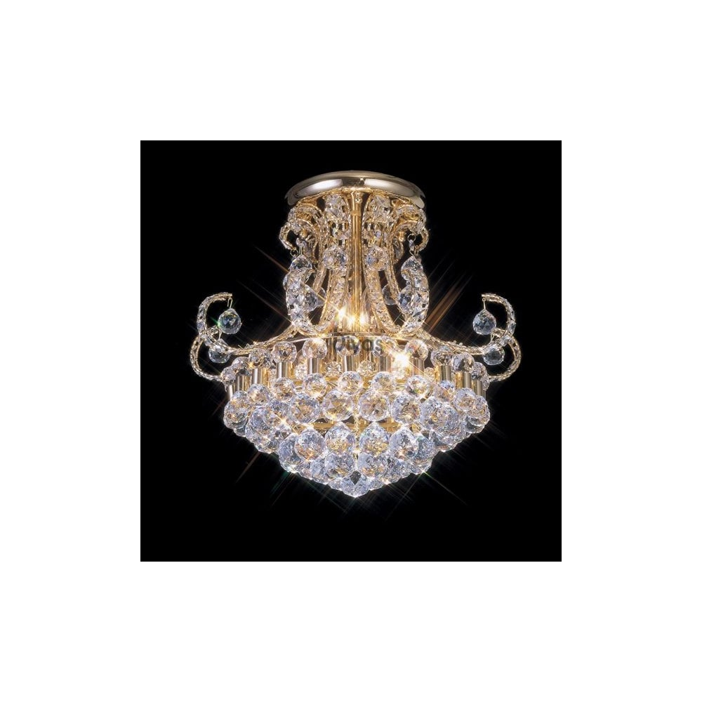 Gold Plated Asfour Crystal Chandelier Light Fitting For