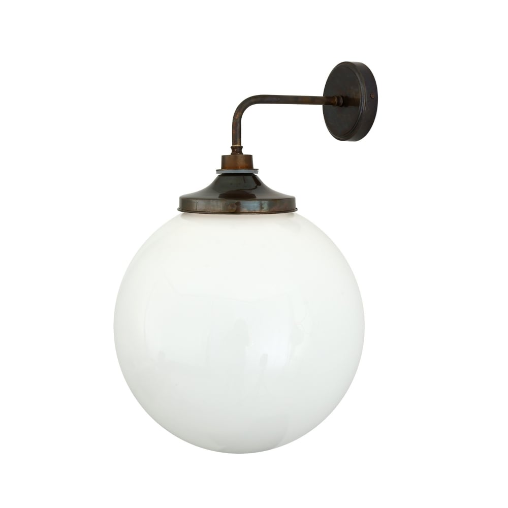 Fabulous Pelagia Bathroom Wall Light In Antique Brass With Opal Glass Globe Home Interior And Landscaping Fragforummapetitesourisinfo