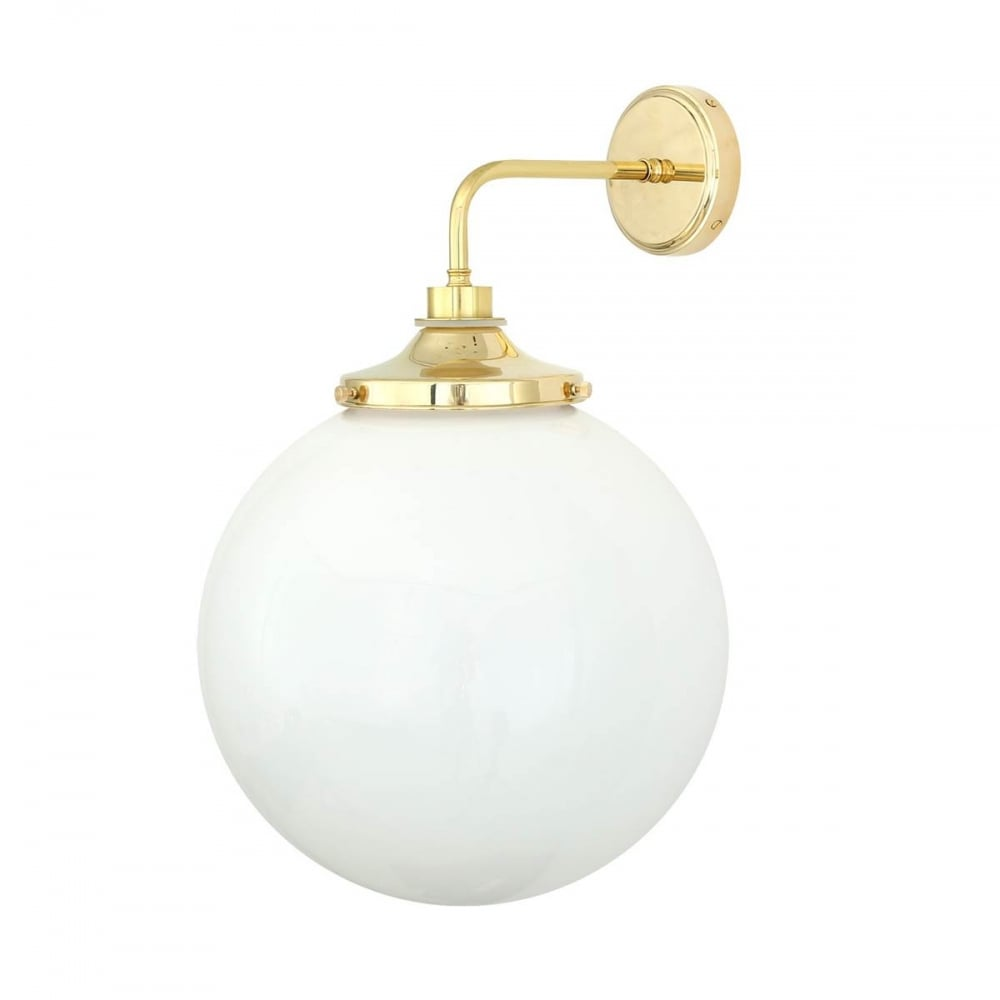 separation shoes 457e4 61ea0 PELAGIA bathroom wall light in polished brass with opal glass globe