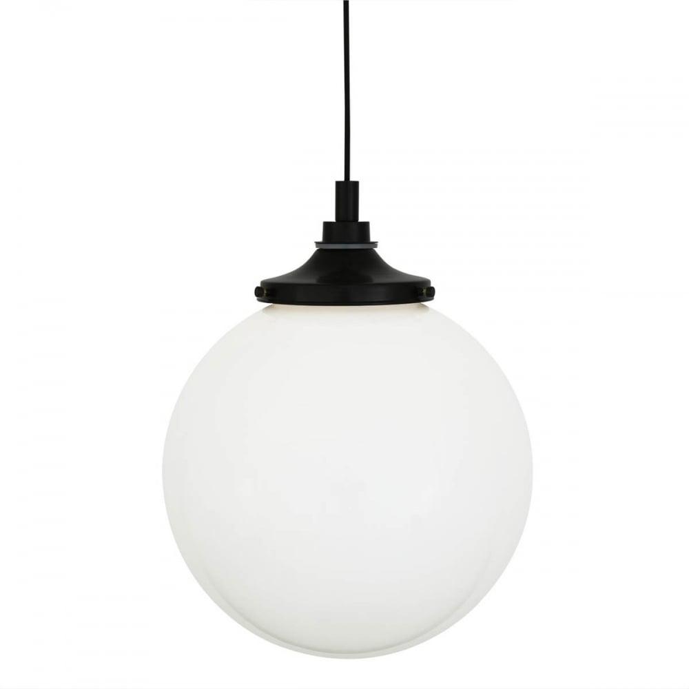 new product 65d97 6f6fb PELAGIA opal glass globe bathroom pendant with matte black suspension