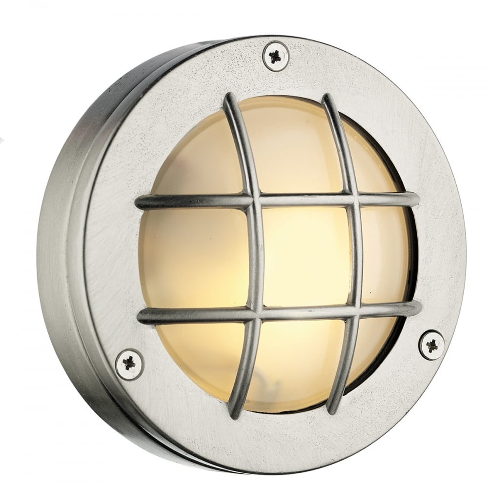 Nickel finish outdoor round bulkhead light with frosted glass nickel outdoor round bulkhead light aloadofball Images