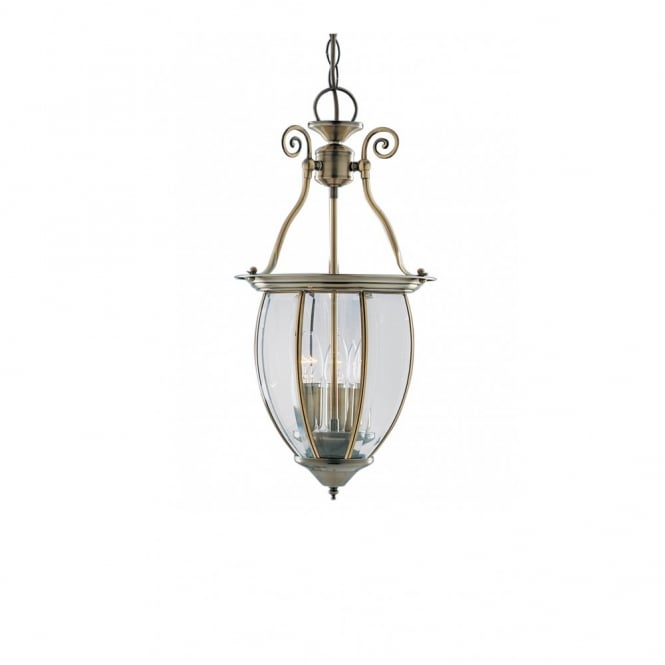 PERIOD HALL LANTERN antique brass ceiling pendant