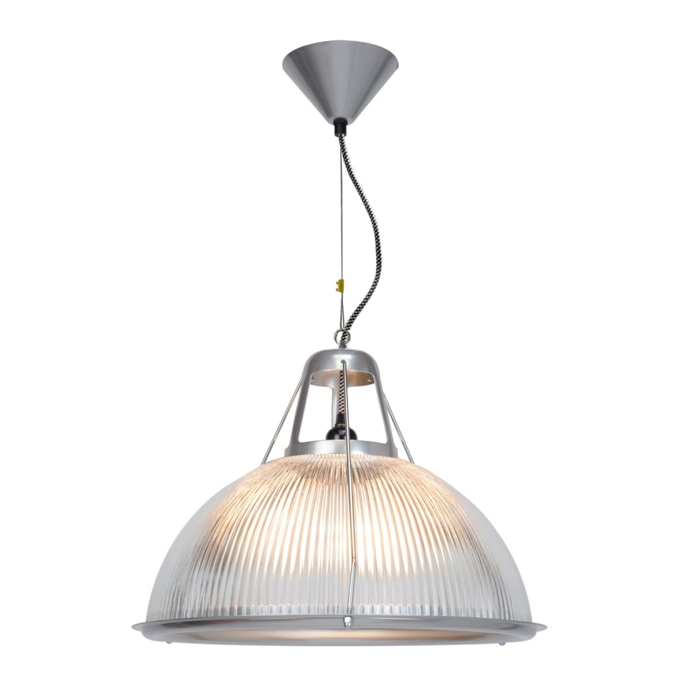 Industrial prismatic glass dome ceiling pendant