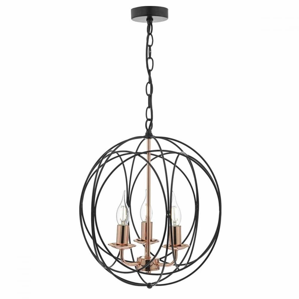 Geometric 3 light copper and black globe ceiling pendant geometric 3 light black and copper ceiling pendant aloadofball Images