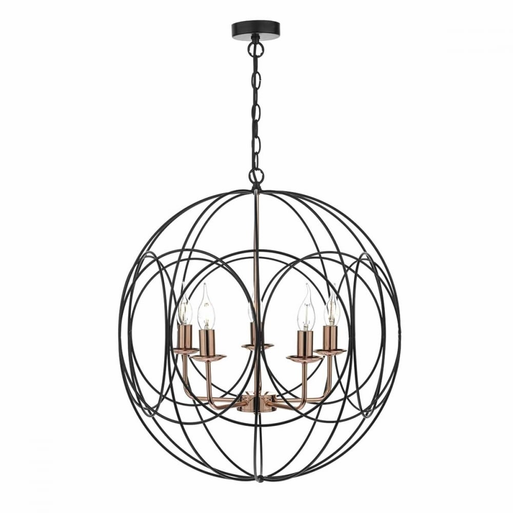 Geometric 5 Light Black And Copper Ceiling Pendant