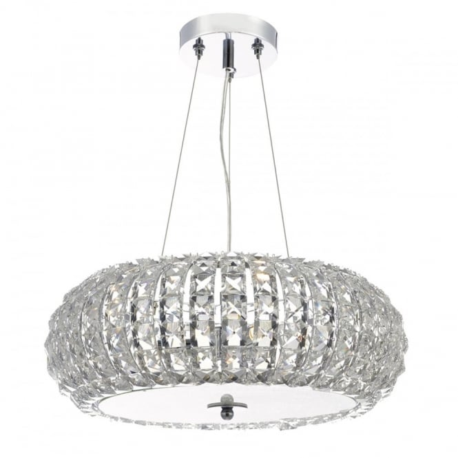 PIAZZA decorative 3 light faceted crystal bead ceiling pendant