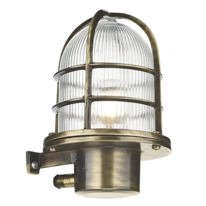 PIER coastal style caged exterior wall light in antique brass