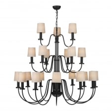 black 21 light chandelier with linen clip shades