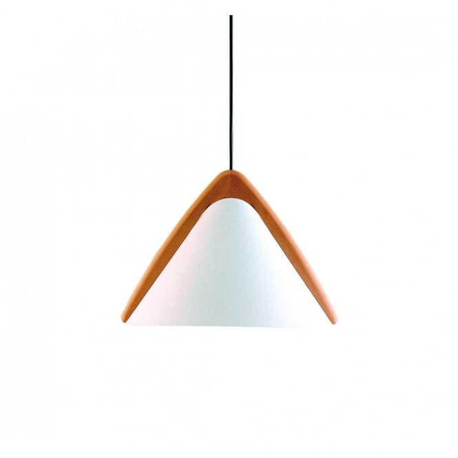 PILA contemporary ceiling pendant with opal shade & wooden detail