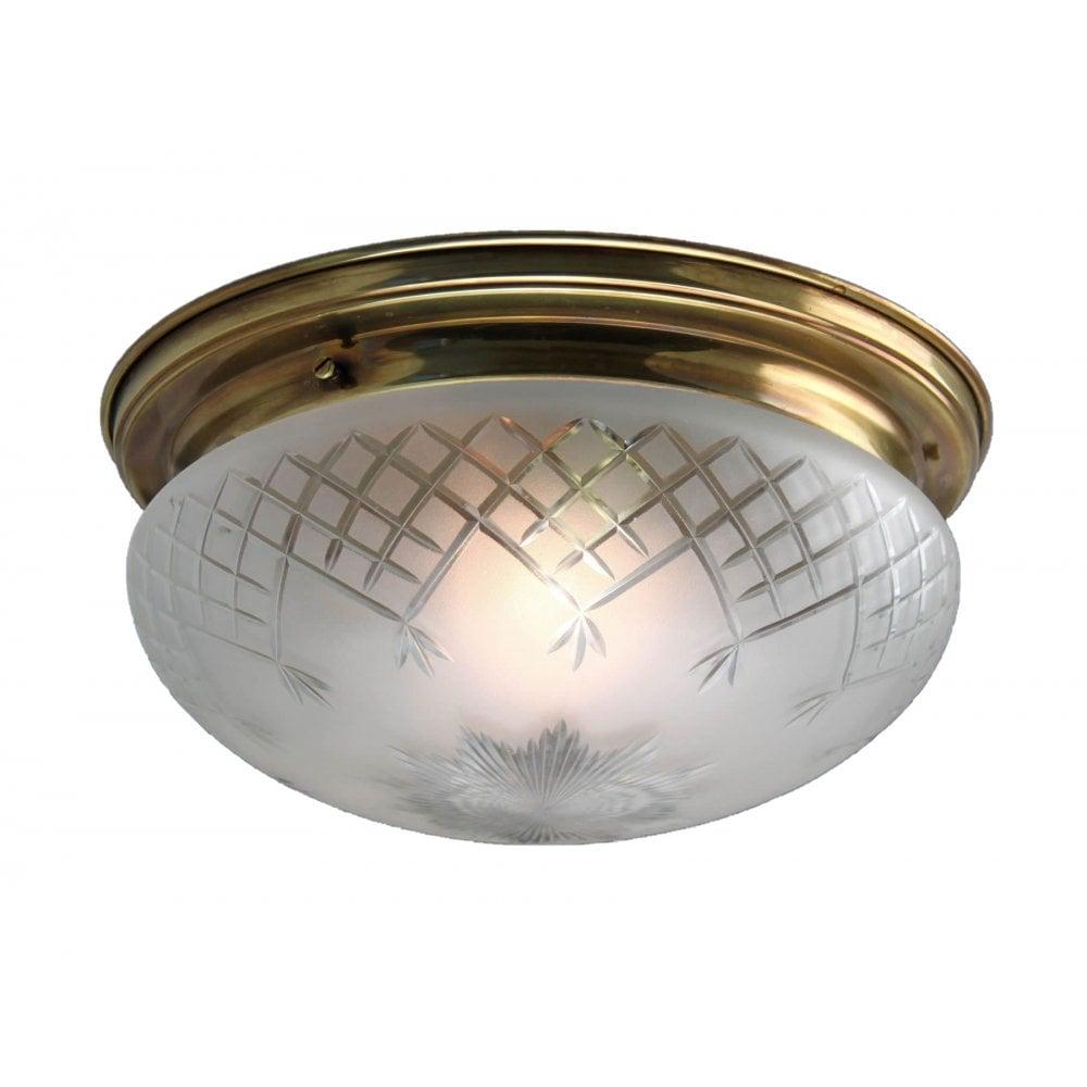 Pinestar Flush Brass Ceiling Light With Frosted Cut Glass Bowl Shade Medium