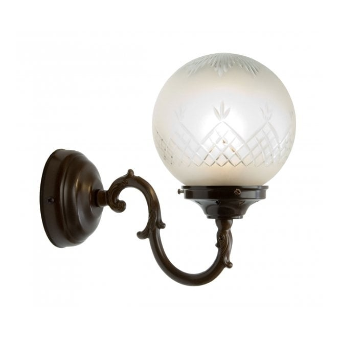 Traditional antique wall light with patterned glass globe shade pinestar traditional victorian or edwardian globe wall light aloadofball Images