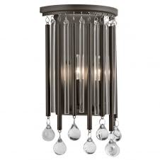 decorative glass rod and bead wall light in espresso finish