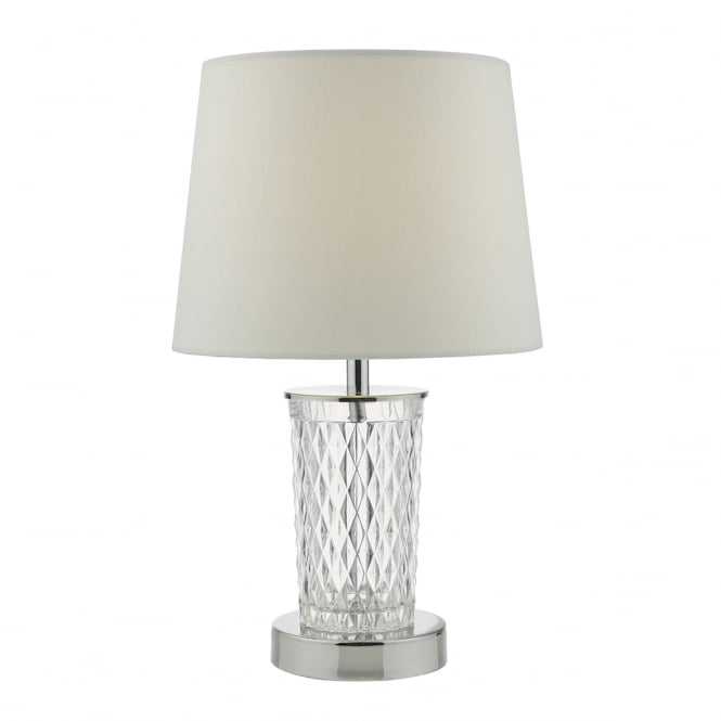 PIXIE decorative chrome and clear glass touch lamp