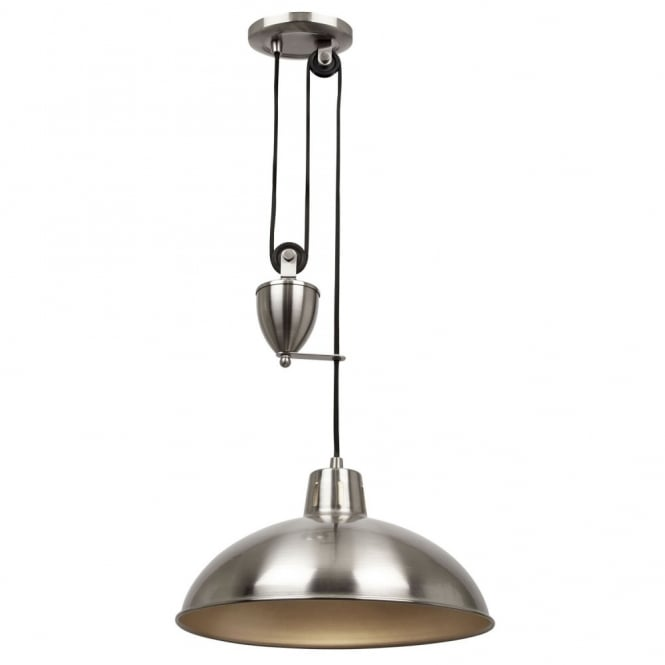 silver nickel rise and fall ceiling pendant light metal coolie shade